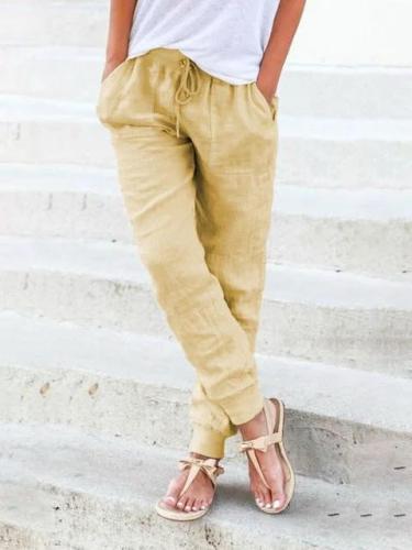 Women's Drawstring Casual Linen Pants Women Trousers