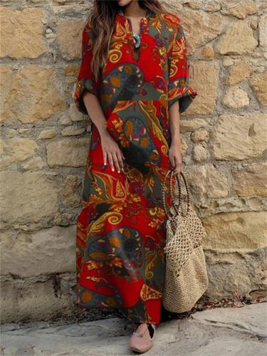 Ethnic Style V Neck Floral Printed Long Sleeve Pullover Maxi Dress