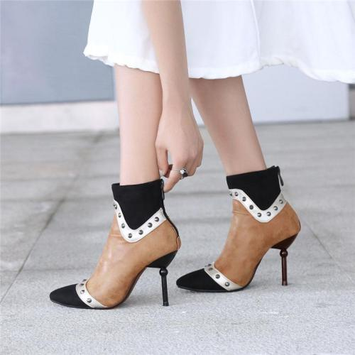 Women's Pointed High-Heeled Studded Booties