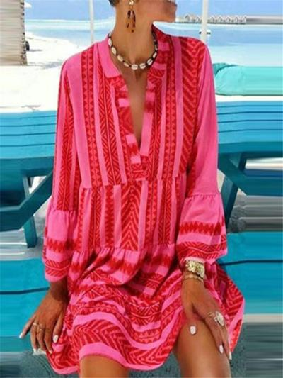 Loose Fit V Neck Geometric Pattern Long Sleeve Pleated Midi Dress