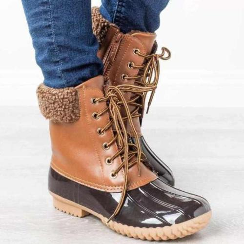 Hipster Lace-Up Duck Boots Winter Warm Anti-skiing Snow Boots Waterproof Rain Boots