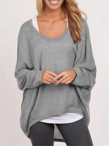 Oversized Round Neck Solid Color Long Sleeve Pullover Shirt