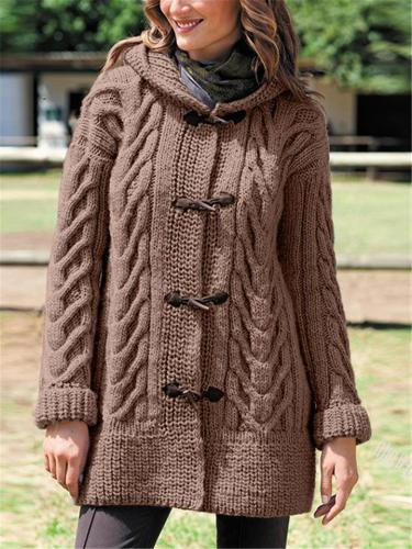 Front Buckle Knitted Outerwear with Hood