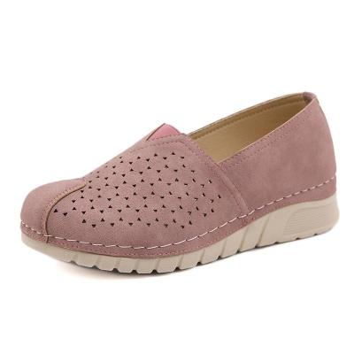 Breathable Cut-Out Thick-Sole Low-Cut Wedge Heel Loafers