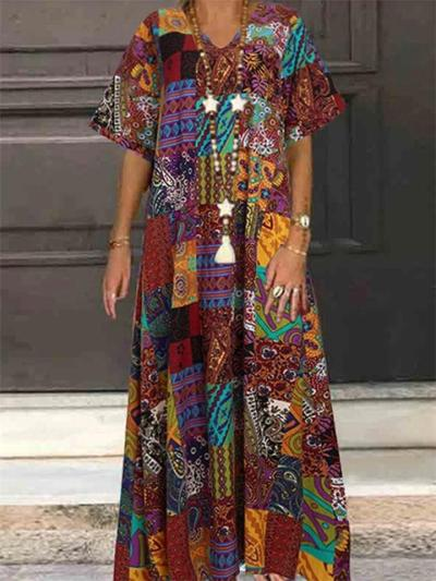Ethnic Style V Neck Short Sleeve Floral Printed Maxi Cotton Linen Dress