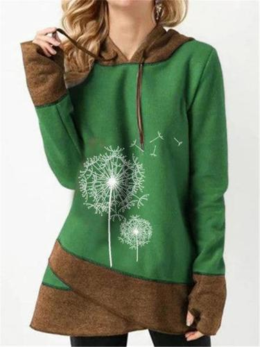 Ultra Warm Asymmetric Hem Floral Print Sweatshirt with Hood