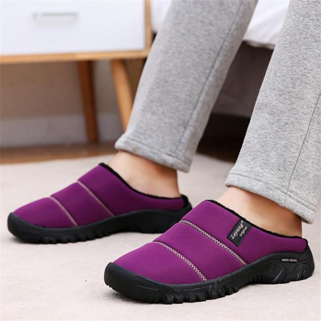 Unisex Cozy Warm Waterproof Fur Lining Non-Slip Flat Slippers
