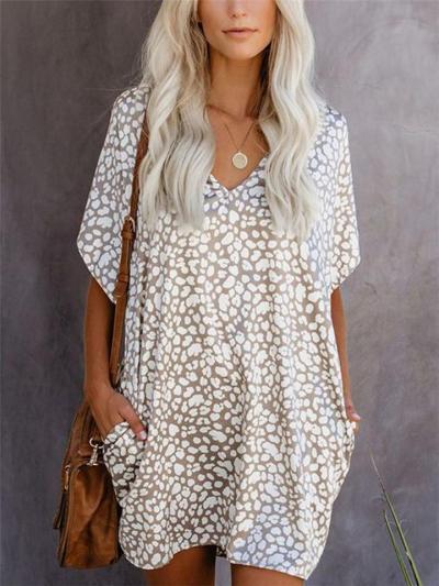 Loose Fit V Neck Leopard Printed Short Sleeve Pocket Mini Pullover Dress