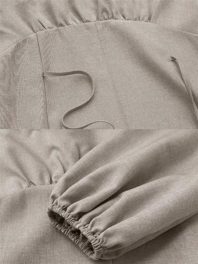 Oversized Round Neck Elastic Cuff Long Sleeve Back Tie Maxi Dress