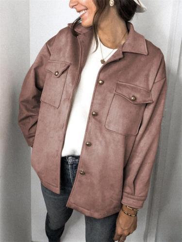 Stylish Suede Pockets Jacket Coat