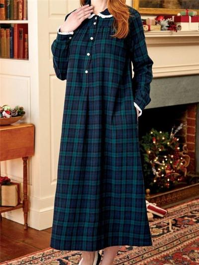 Classic Style Lapel Collar Plaid Pocket Maxi Nightgown Dress