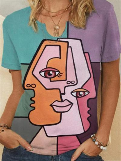 Straight Hem Notched Neckline Abstract Face Print Multicolor T-Shirt