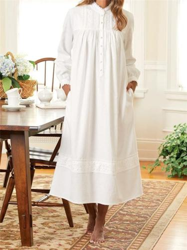 Super-Soft Embroidered Flowers Button Up Pocket Nightgown