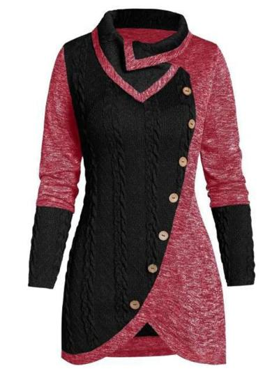 Trendy Button Deco Asymmetric Design Knitted Contrasting Sweater