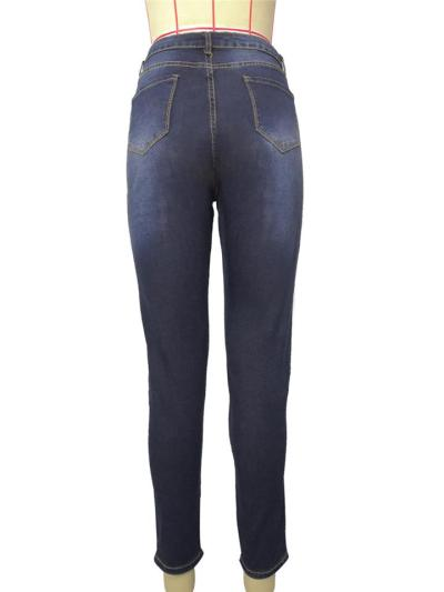 Stylish High-Rise Pocket Washed Effect Stretchy Skinny Jeans