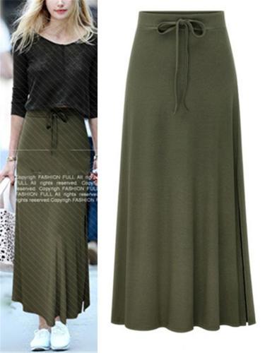 High-Waisted Adjustable Front Drawstring Long Slit Skirt