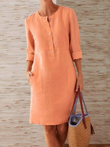 Buttoned Down Pockets Plus Size Dresses