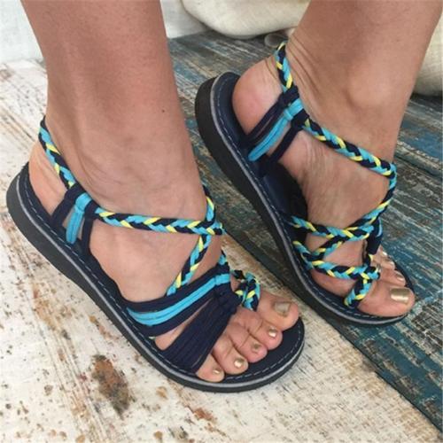 Women's Casual Open Toe Bandage Beach Flip-flops