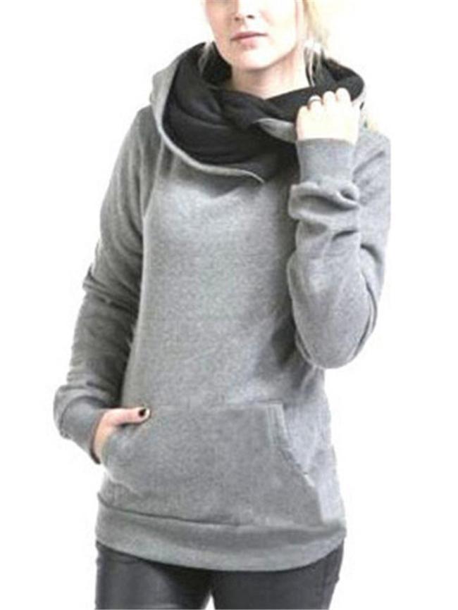 Comfortable Solid Color Long Sleeve Kangaroo Pocket Hooded Sweatshirt