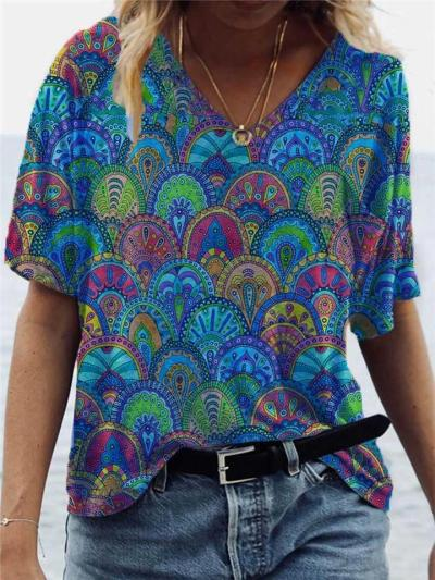 Loose Fit V Neck Abstract Printed Pullover Short Sleeve T-Shirt