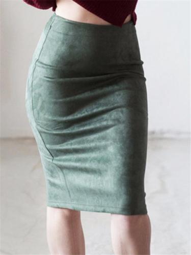 Sexy Suede Midi Elastic Bodycon Skirt