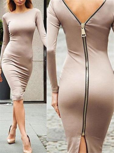 Slim Fit Round Neck Back Full Zipper Long Sleeve Midi Dress