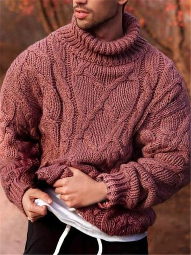 Men's Fashion Cable Knitted Turtleneck LongSleeve Sweater