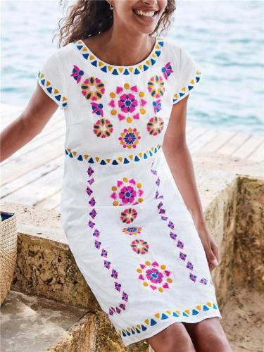 Stylish Round Neck Floral Pattern Short Sleeve Pocket Midi Dress