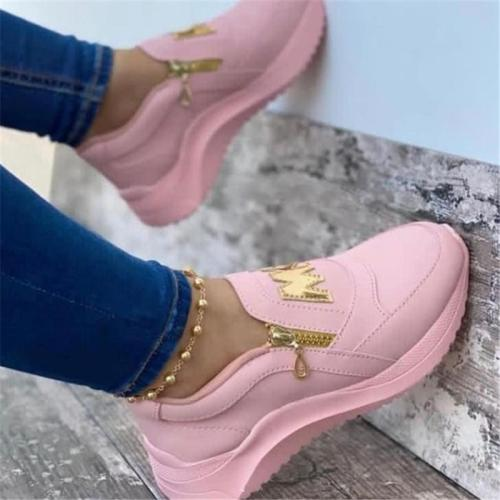 Casual Style Low-Cut Side Zipper Thick-Bottom Flat Heel Shoes