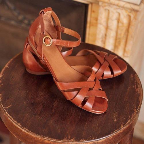 Flat Heel Peep Toe Casual Sandals