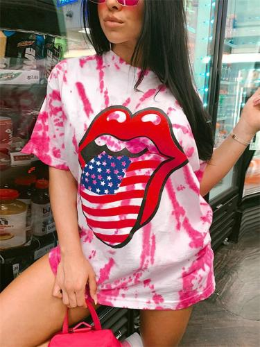 Stylish Loose Fit Cartoon Printed Round Neck Short Sleeve T-Shirt