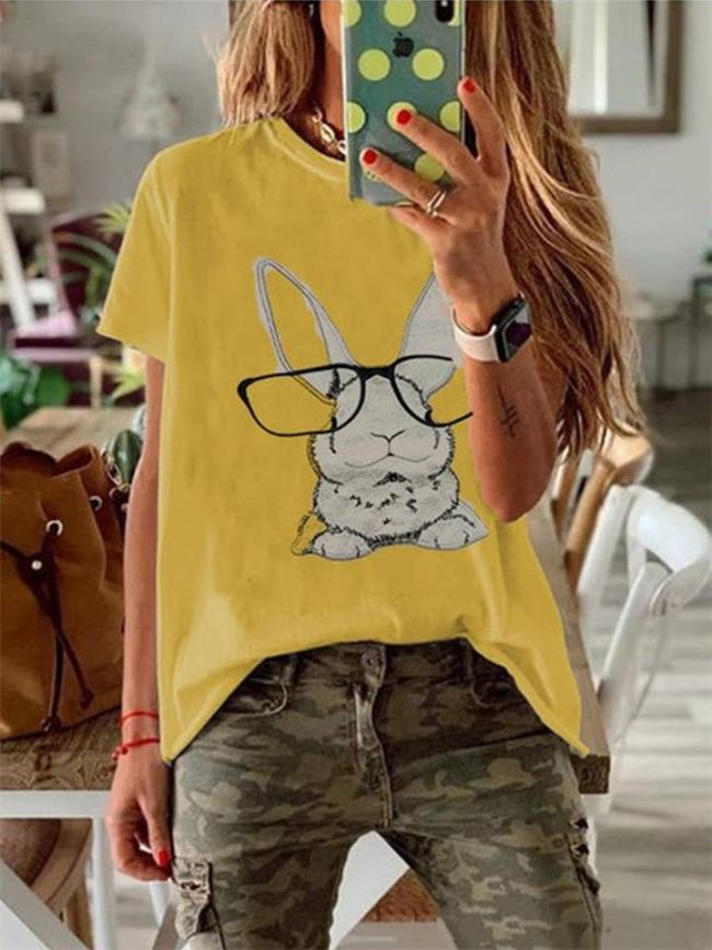 Casual Style Cute Rabbit Printed Round Neck Short Sleeve T-Shirt