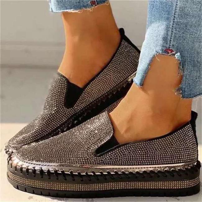 Casual Style Low-Cut Rhinestone Deco Thick-Sole Non-Slip Loafers