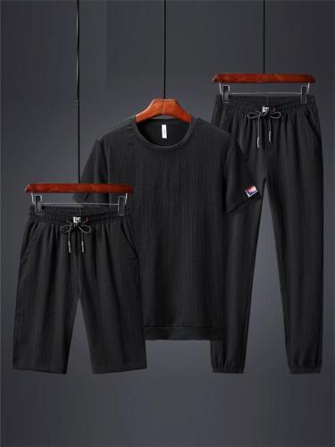 Men's Slim Fit 3 Piece Short Sleeve Shirt + Shorts + Trousers