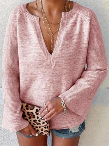 Relaxed Fit V Neck Solid Color Flare Sleeve Knitted Pullover Tops