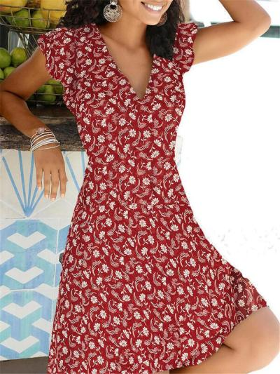 Fashionable V Neck Floral Printed Short Sleeve Flare Mini Dress