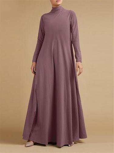 Casual Fit High Neck Solid Color Long Sleeve Pocket Maxi Dress