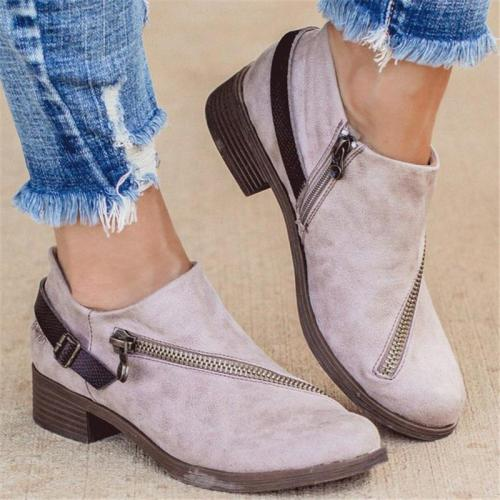 Stylish Chunky Low Heel Side Zipper Low-Cut Non-Slip Boots