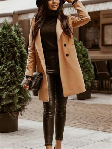 Comfortable Lapel Collar Double Breasted Solid Color Midi Woolen Coat