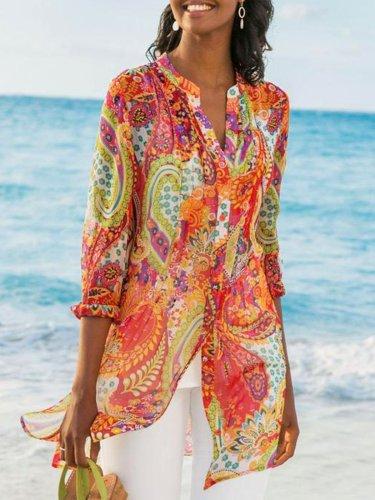 Women's Printed Casual Loose Plus Size Chiffon Shirts