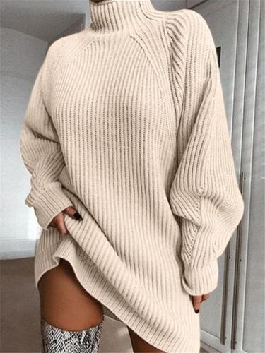 Comfortable High Neck Cable Knit Stretchy Pullover Sweater Dress