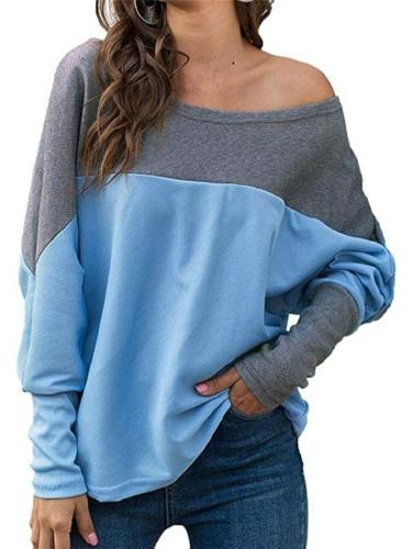 Relaxed Fit Color Block Round Neck Long Sleeve Shirt