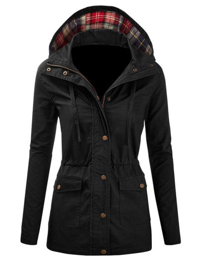 Comfortable Pocket Button Zipper Drawstring Hooded Plaid Coat