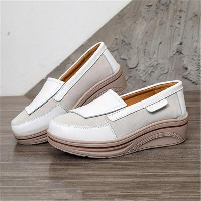 Fashionable Low-Cut Thick-Sole Wedge Heel Leather Non-Slip Loafers