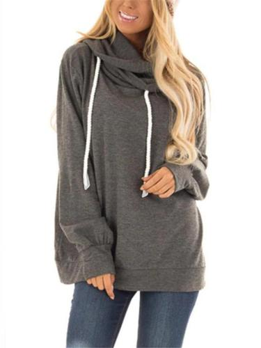 Casual Solid Pull Over Hoodie With Draw Cord