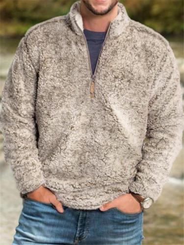 Mens Warm Solid Color Fur Outerwear