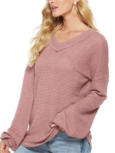 Casual Style V Neck Long Sleeve Solid Color Knitted Tops