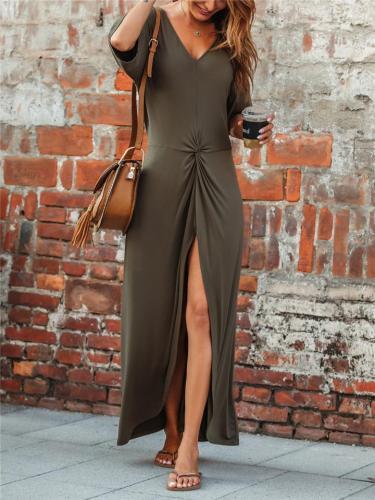 Sexy Pretty Ruched Design Thigh High Slit V Neck Short Sleeve Maxi Dress