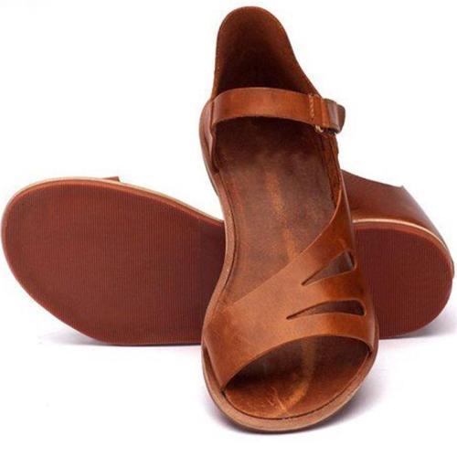 Women Casual Solid Color Peep Toe Flat Sandals
