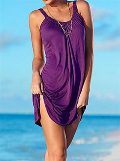 Casual Style Scoop Neck Solid Color Sleeveless A-Lined Beach Dress